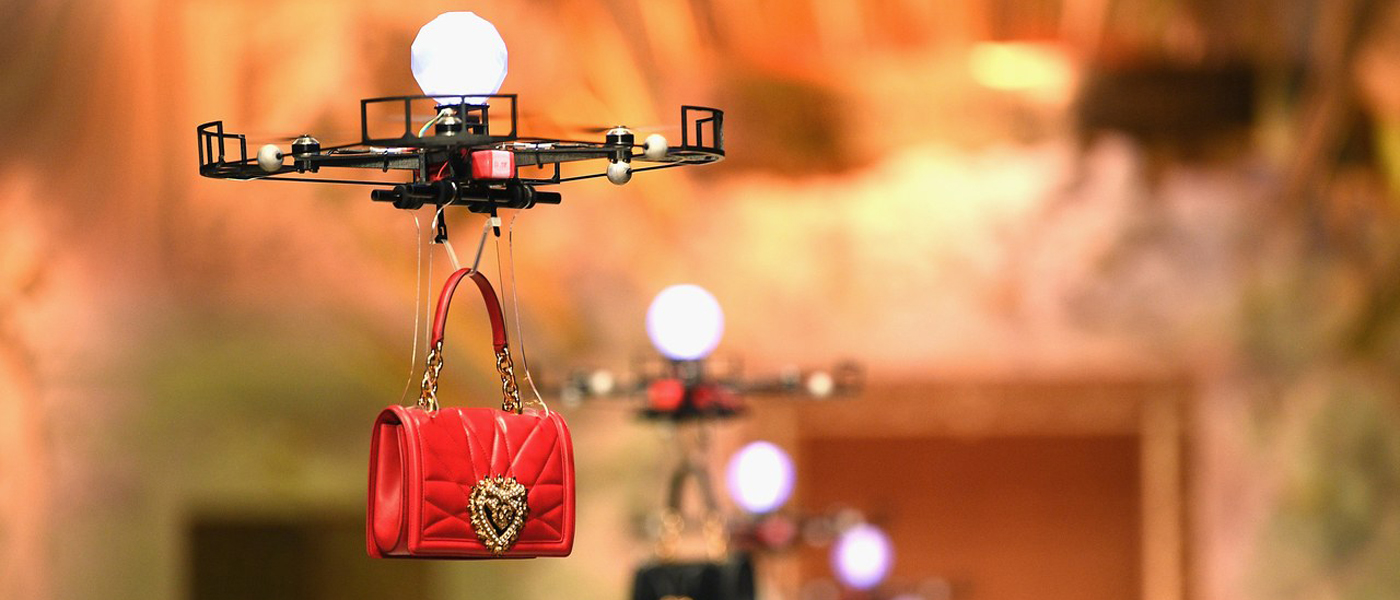 A drone flies down the runway at Dolce & Gabbana FW18