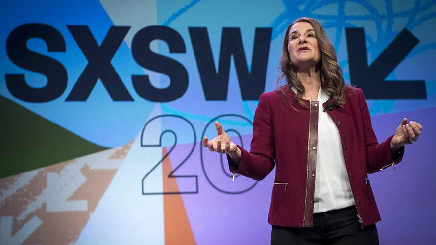 Melinda Gates on stage at SXSW 2018