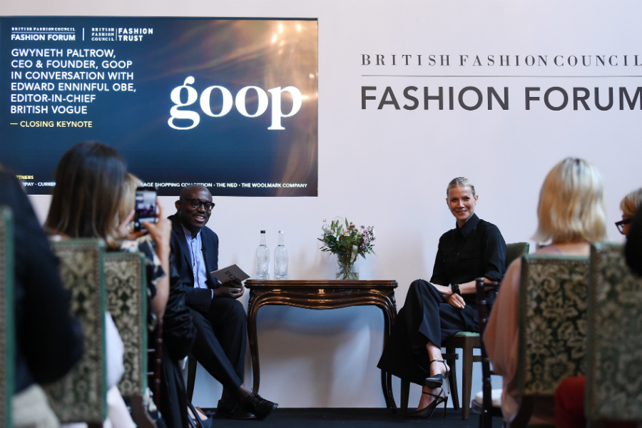 Edward Enninful and Gwyneth Paltrow in conversation at the British Fashion Council's annual Fashion Forum
